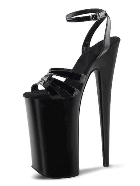 Milanoo Sexy Sandals For Woman Black PU Leather Peep Toe Monk Strap Sexy Shoes