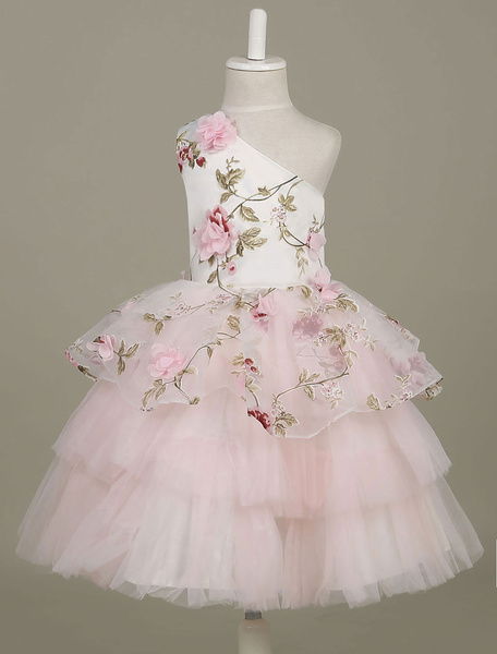 Milanoo Flower Girl Dresses One Shoulder Toddler's Pageant Dress Light Pink Flowers Printed Tulle Tiered Tutu Dress