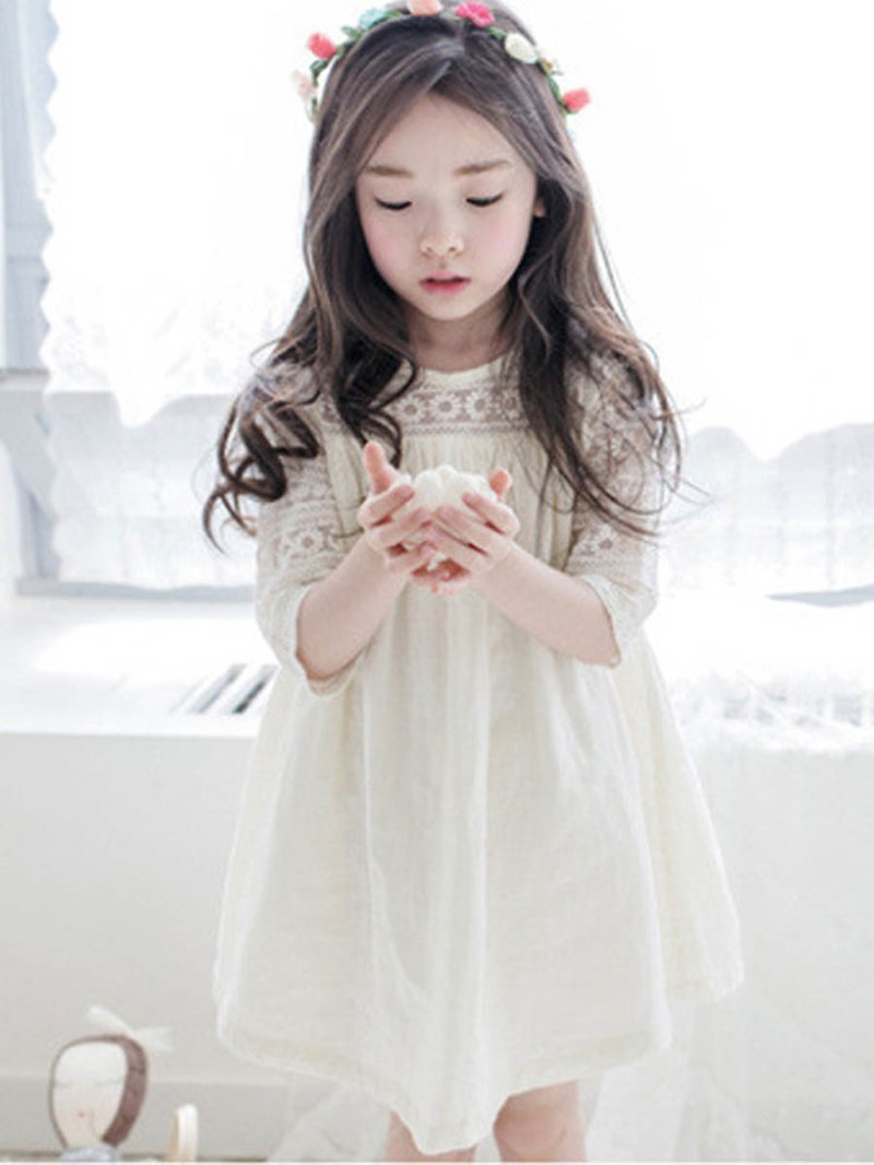Ericdress Hollow Lace Bowknot Girl's 3/4 Length Sleeve Casual Dress