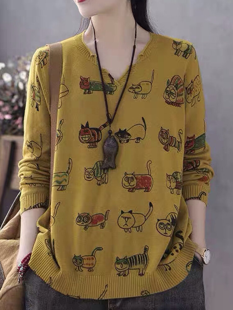 Cartoon Printed Long Sleeve V-neck Sweater For Women