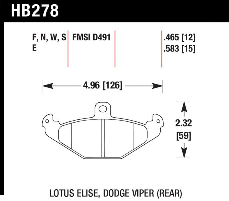 Hawk Performance HB278F.583 Disc Brake Pad Dodge Viper Rear 1992-2000