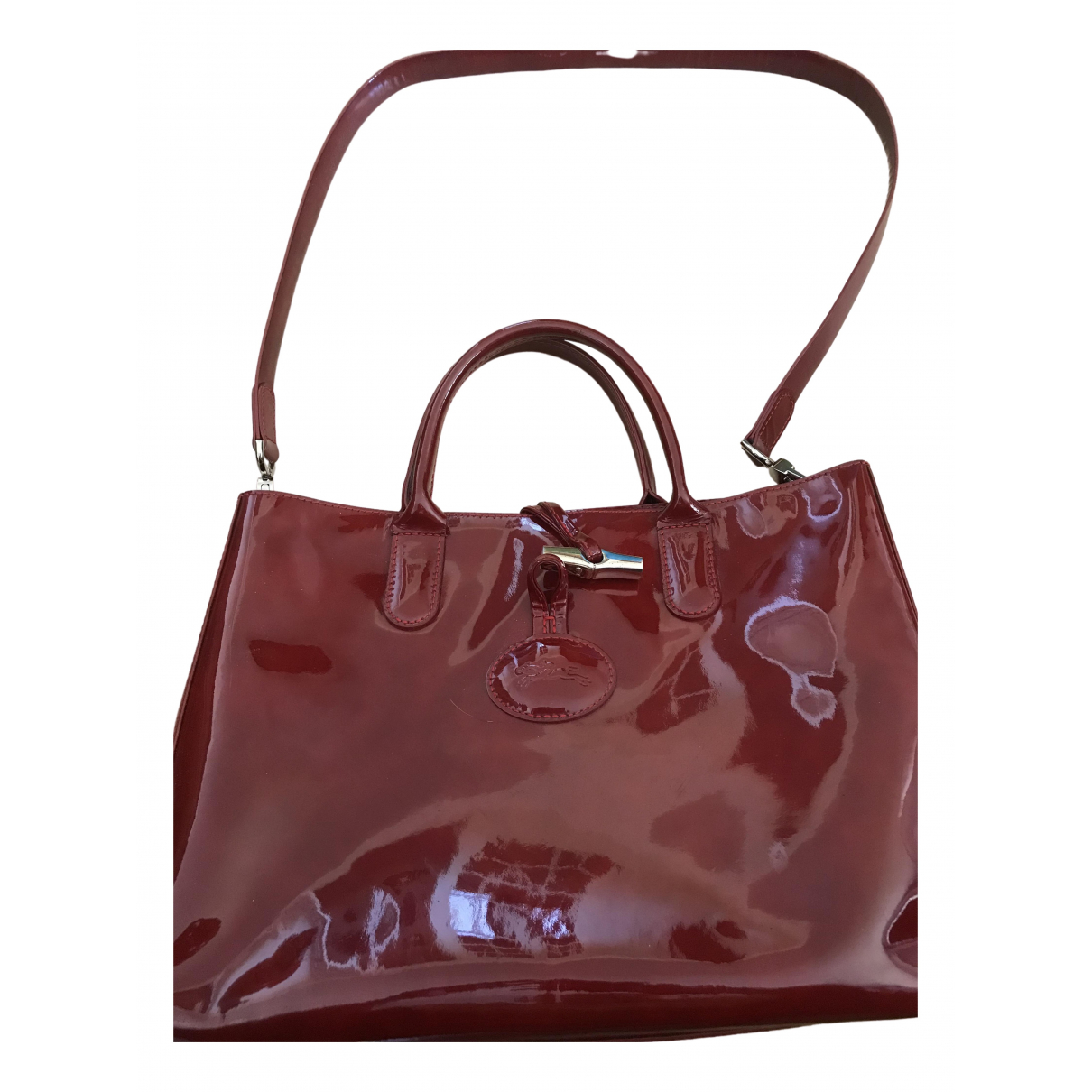 Longchamp Roseau Burgundy Patent leather handbag for Women \N