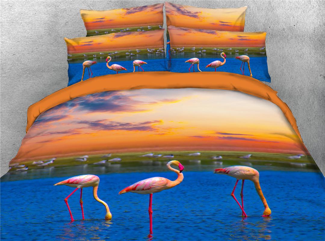 Flamingo Machine Wash Five-Piece Set Comforter Set Polyester Endurable Skin-friendly Bedding Sets