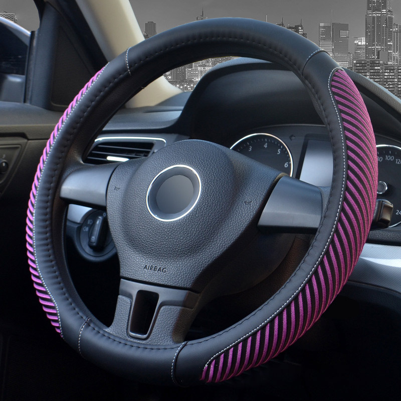 Pinstripe Design Ice Silk Sewing Non-Slip Breathable And Comfortable PVC Leather Steering Wheel Cover