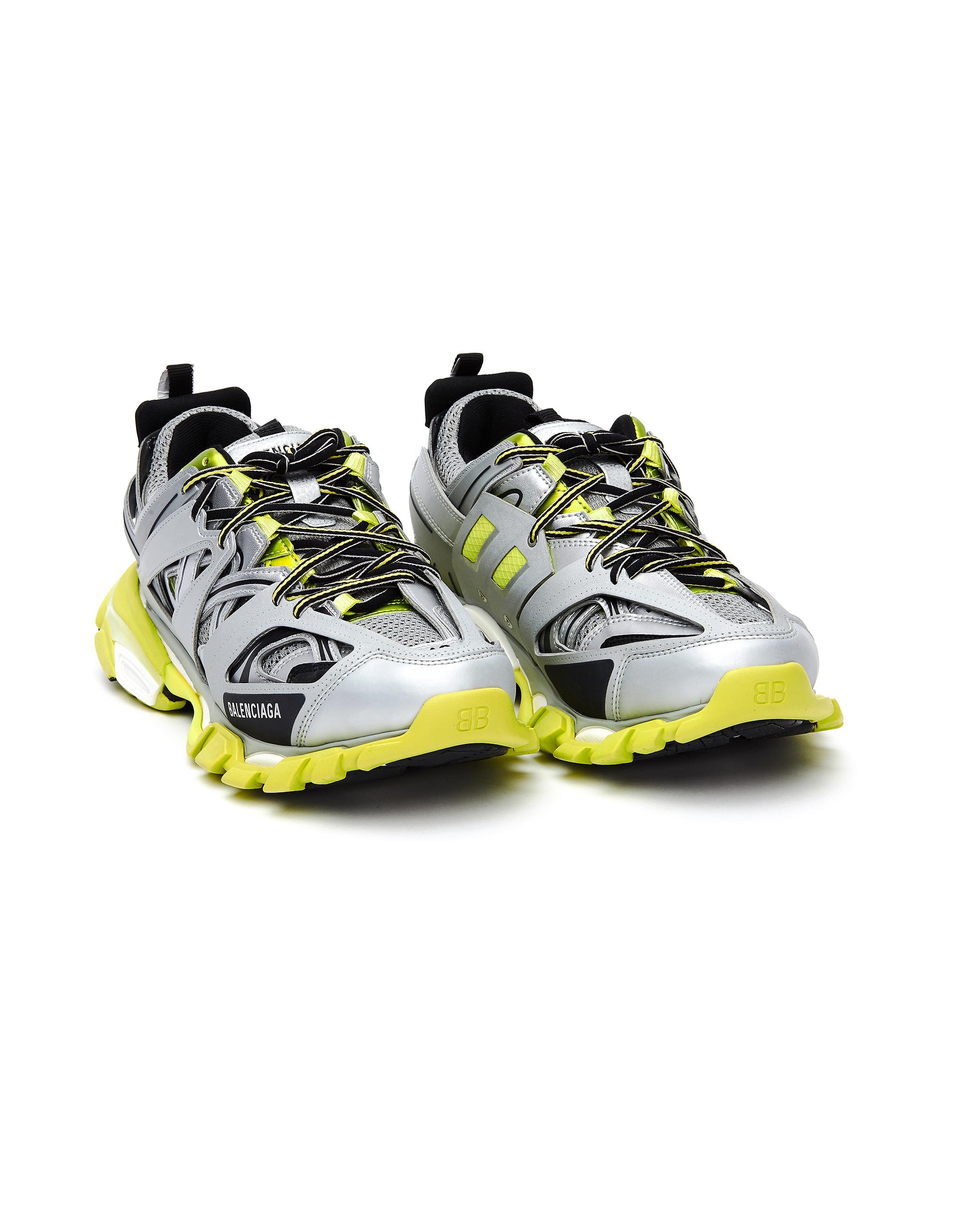 Balenciaga Silver & Green Track Sneakers
