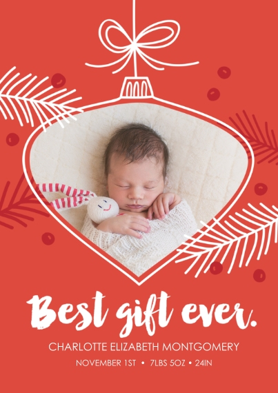 Newborn 5x7 Cards, Standard Cardstock 85lb, Card & Stationery -Sweetest Ornament Ever