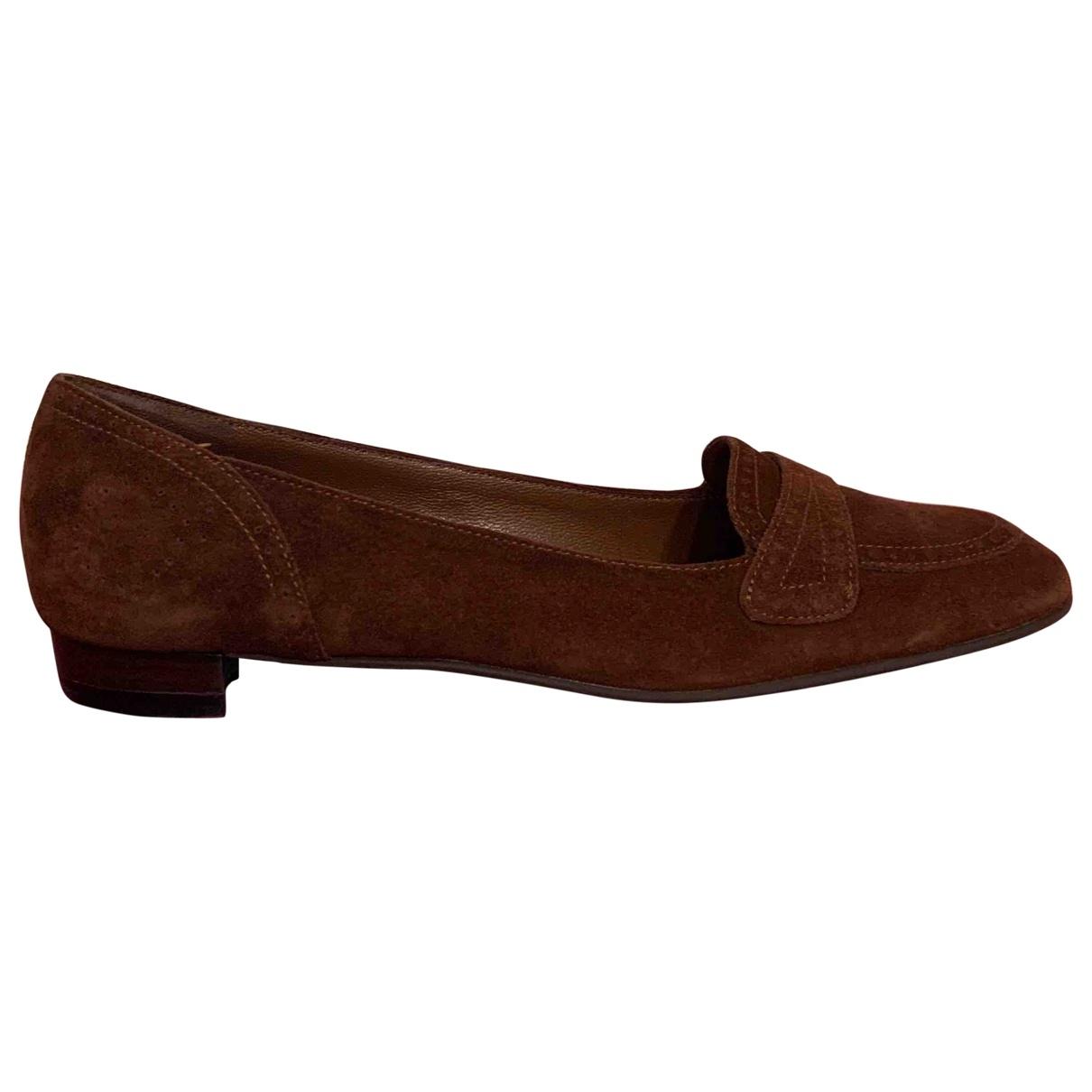 Salvatore Ferragamo \N Brown Suede Flats for Women 35.5 IT