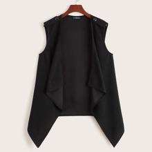 Plus Solid Waterfall Vest Coat
