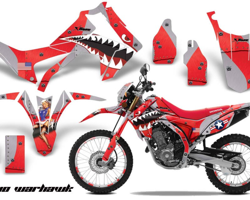AMR Racing Graphics MX-NP-HON-CRF250L-13-16-WH R Kit Decal Sticker Wrap + # Plates For Honda CRF250L 2013-2016áWARHAWK RED
