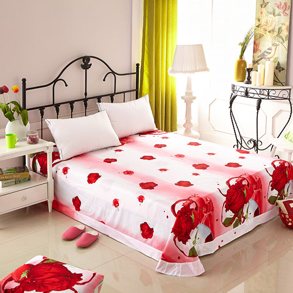 Cozy Cotton Printed Sheet with Romantic Red Roses