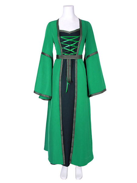 Milanoo Victorian Princess Dress Retro Long Trumpet sleeve dark Navy Square neckline Medieval Renaissance Gown Halloween