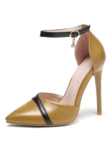 Milanoo Women's High Heels Yellow Pointed Toe Ankle Strap Plus Size Pumps