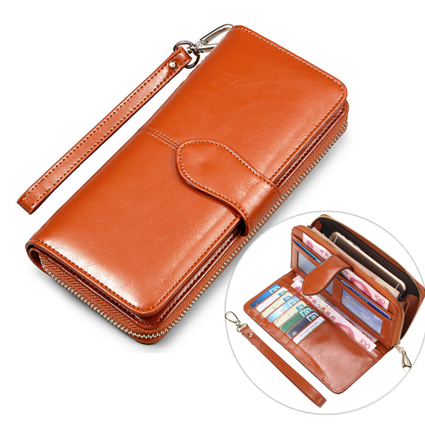 Stylish PU Leather Long Wallet Card Holder Coins Bag