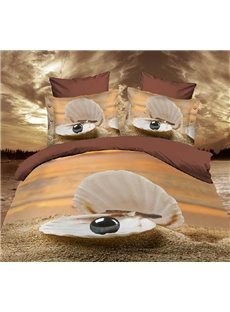 Shell with Black Pearl Print 3D 4-Piece Polyester Duvet Cover Sets