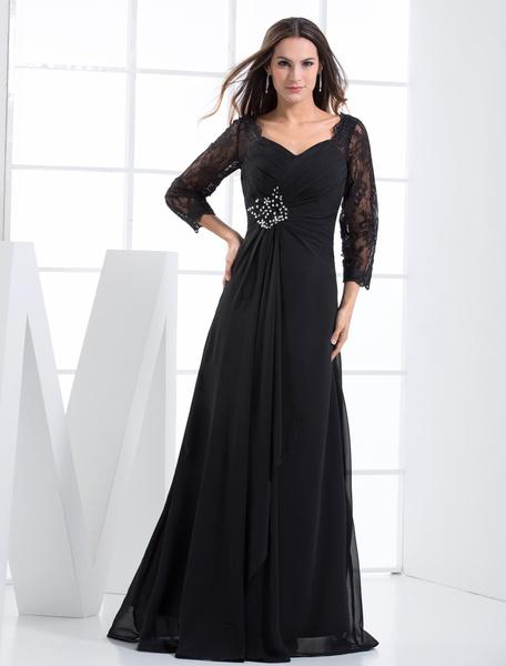 Milanoo Black Evening Dress Rhinestone Lace Up Chiffon Lace Dress wedding guest dress