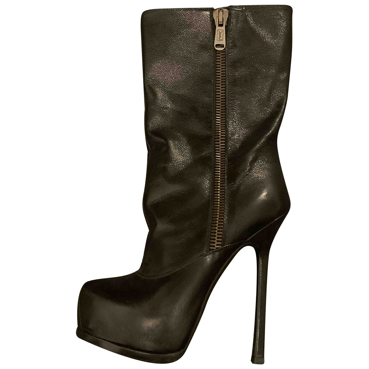 Yves Saint Laurent \N Black Leather Ankle boots for Women 37 IT
