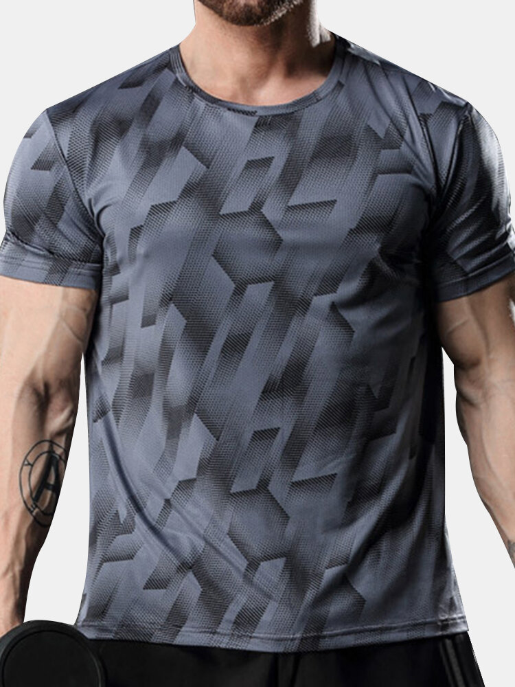 Mens Quick-drying Breathable Elastic Casual Top Training Short Sleeve T-shirt