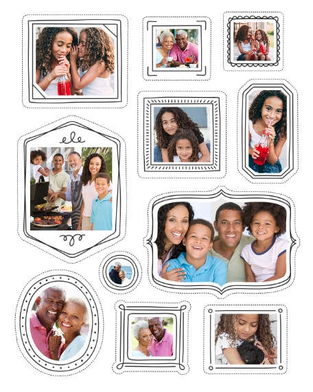 Family + Friends 16x20 Adhesive Poster, Home Décor -Doodled Frames