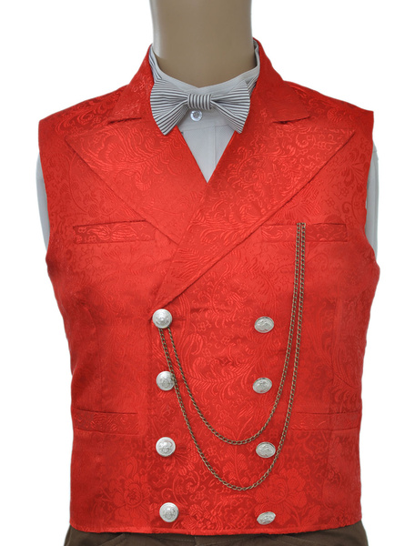Milanoo Vintage Steampunk Waistcoat Red Men's Double Breasted Suit Vest Pocket Watch Chain Back Strap Jacquard Retro Costume Halloween