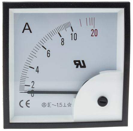 RS PRO Analogue Panel Ammeter 10A AC, 92mm x 92mm, ±1.5 % Moving Iron