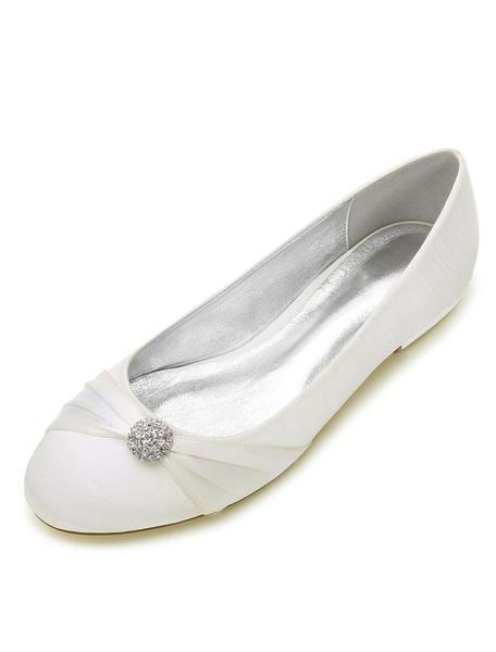 Milanoo White Bridesmaid Shoes Satin Round Toe Rhinestones Wedding Shoes Flat Mother Shoes