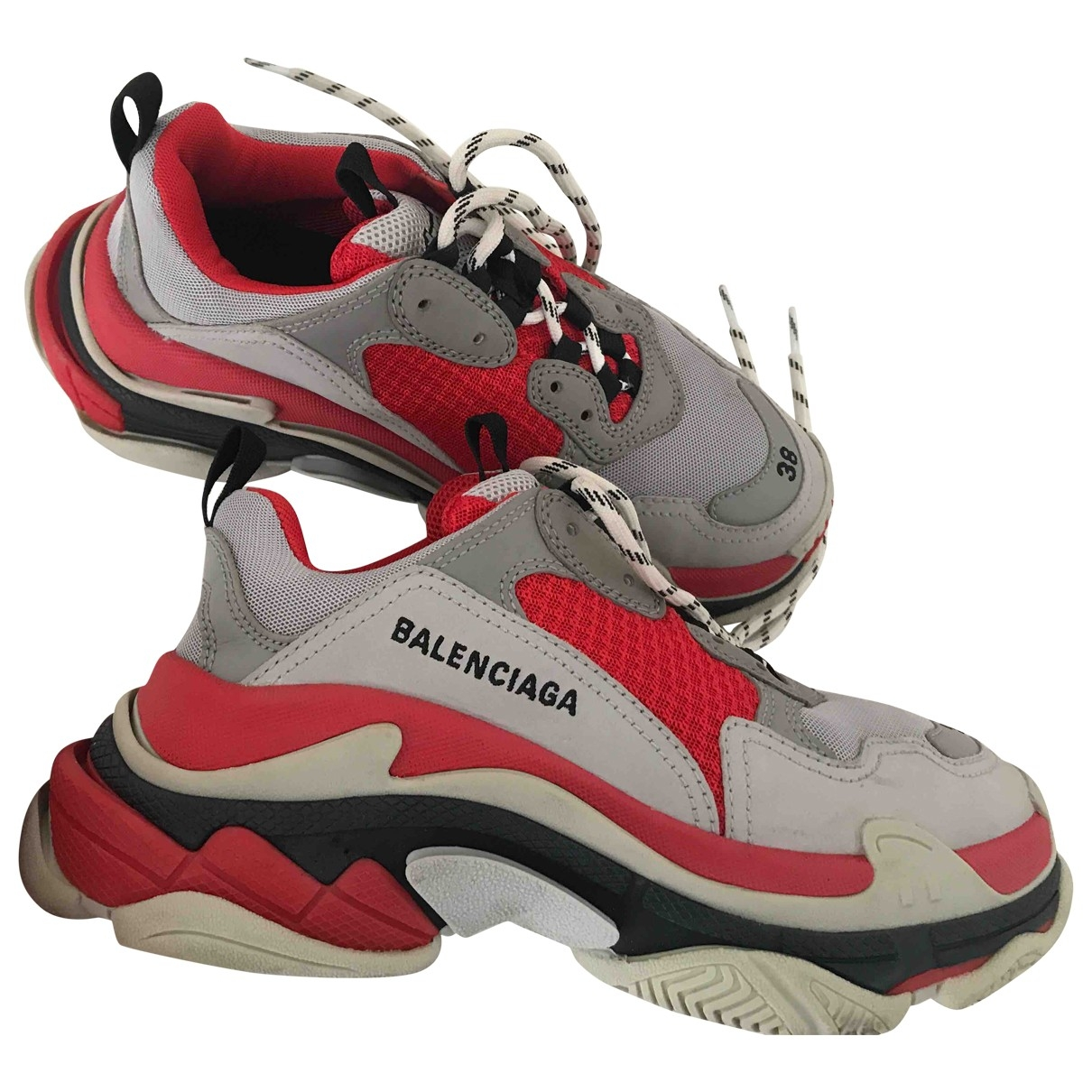 Balenciaga Triple S Red Leather Trainers for Women 38 EU