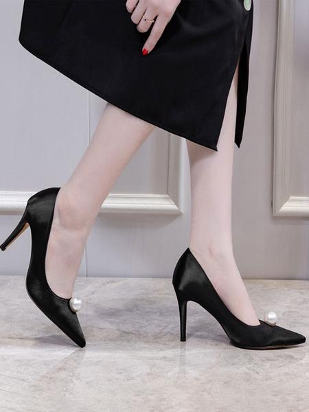 Milanoo Women's High Heels satin Slip-On Pointed Toe Stiletto Heel Pearls Chic Low-Tops Pumps