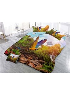 Flying Parrot Wear-resistant Breathable High Quality 60s Cotton 4-Piece 3D Bedding Sets