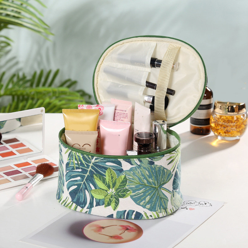 Creative Plant Print Cosmetic Bag Travel Wash Bag Cotton Canvas Storage Bag Large Capacity
