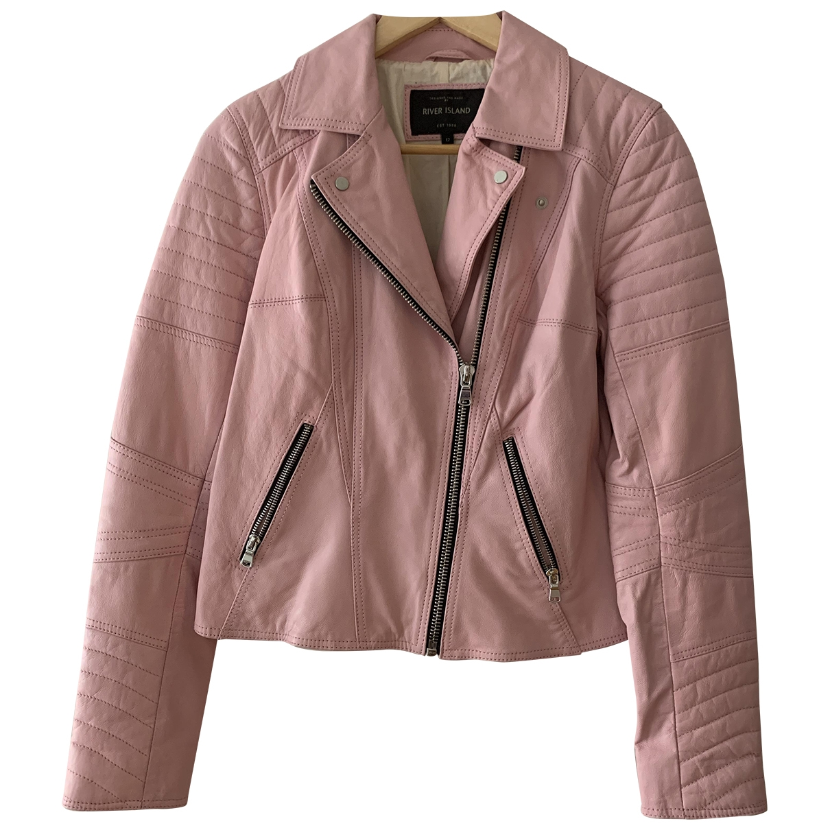 River Island \N Pink Fur Leather jacket for Women 12 UK