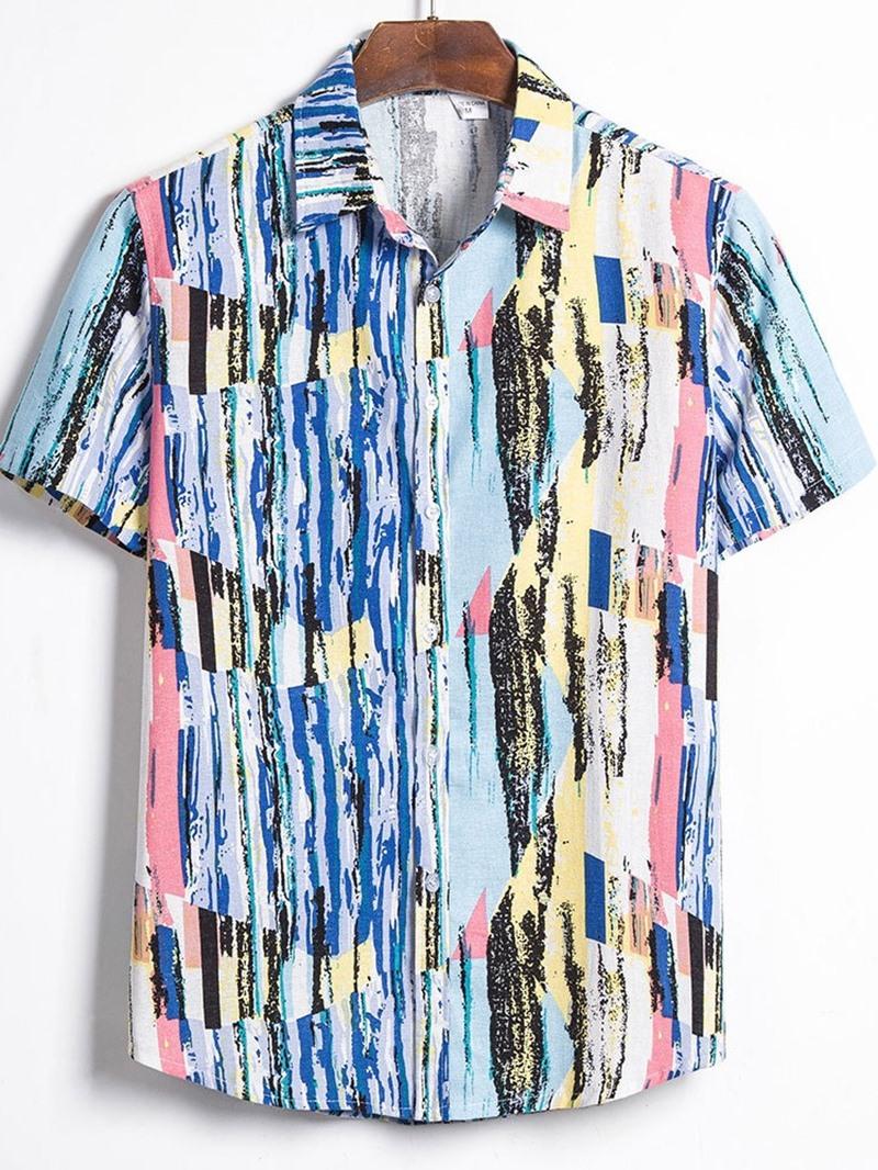 Ericdress Lapel Casual Color Block Men's Shirt