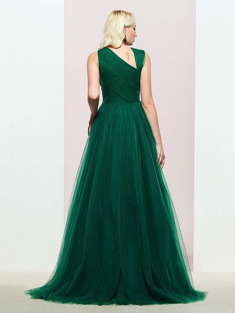 Ericdress Pleats Sleeveless A Line Evening Dress