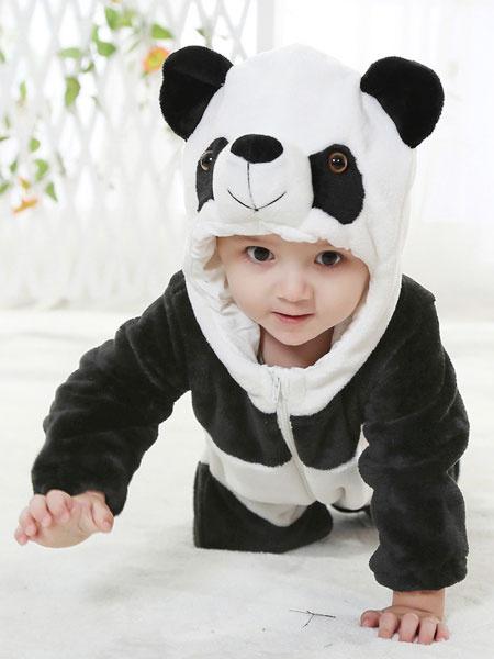 Milanoo Kigurumi Pajamas Panda Onesie Toddlers Flannel Cute Winter Sleepwear Mascot Animal Costume Halloween