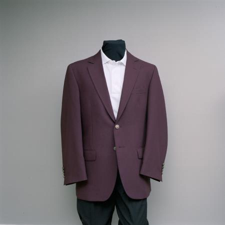 Mens 2 Button Blazer Burgundy with brass gold buttons sportcoat