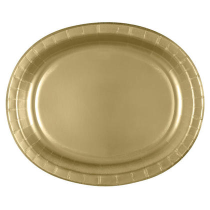 Party Paper Oval Plate Gold 12.25