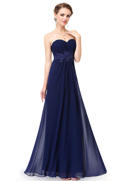 Milanoo Chiffon Party Dresses Strapless Sweetheart Bridesmaid Dresses Dark Navy Lace Applique Backless A Line Floor Length Party Dresses