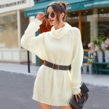 Solid High Neck Longline Sweater Without Belt