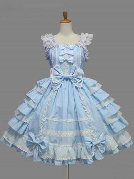 Milanoo Sweet Lolita Dress JSK Rococo Pink Cotton Lace Bow Ruffled Layered Lolita Jumper Skirt