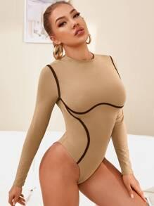 Contrast Piping Rib-knit Bodysuit