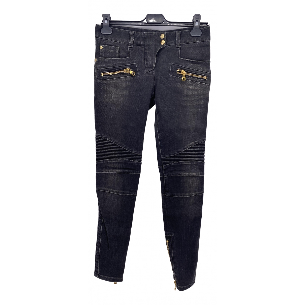 Balmain \N Black Cotton Jeans for Women 25 US