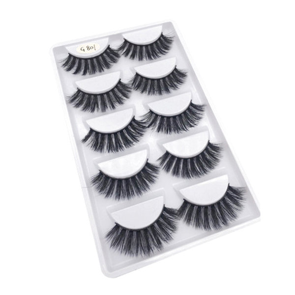 Mink Hair False Eyelashes 5 Pair 3D Thick Handmade Fake Eyelash Foe Eye Makeup Cosmetic