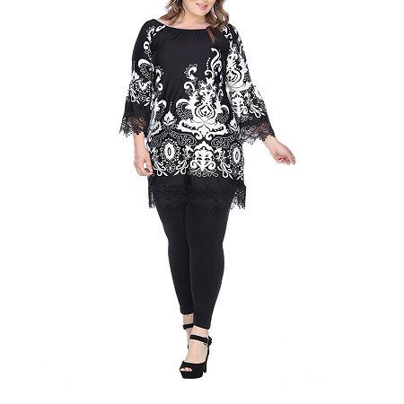 White Mark Uniss Bordered Sheath Dress - Plus, 2x , Black