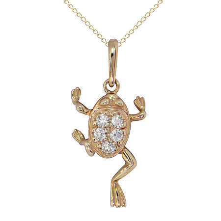 Girls Lab Created White Cubic Zirconia 14K Gold Pendant Necklace, One Size , No Color Family
