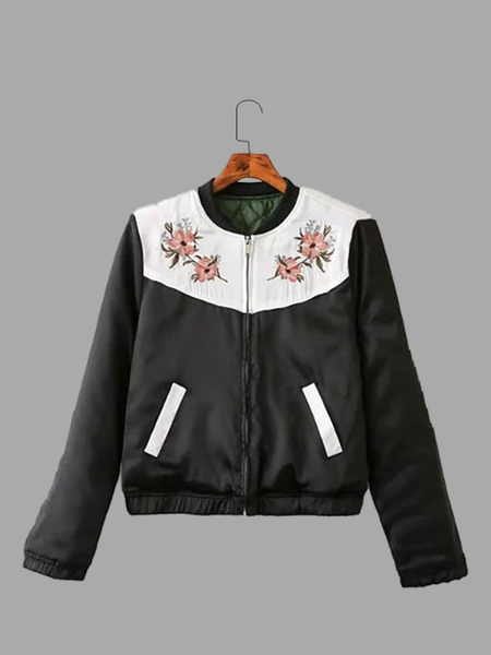 Yoins Black Embroidery Pattern Pocket Front Jacket