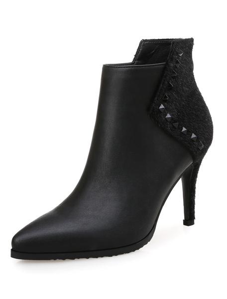 Milanoo Burgundy Ankle Boots High Heel Pointed Toe Rivets Stiletto Heel Booties
