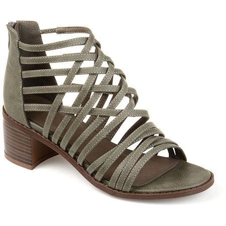 Journee Collection Womens Diya Pumps Block Heel, 8 1/2 Medium, Gray