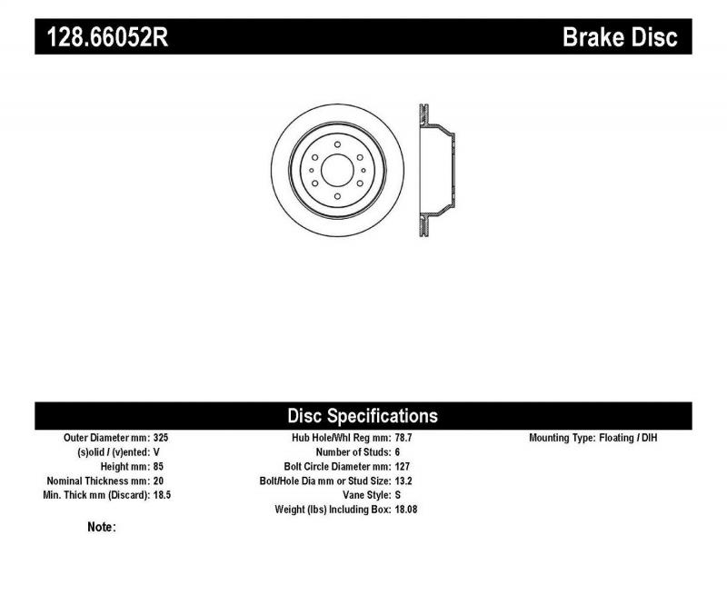 StopTech 128.66052R Sport Cross Drilled Brake Rotor; Rear Right Rear Right