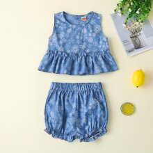 Baby Girl Flower Print Frill Trim Denim Top & Denim Shorts