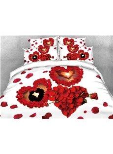 3D Heart-shape Rose Petals Valentine's Day Digital Printing Cotton 4-Piece Bedding Sets/Duvet Covers