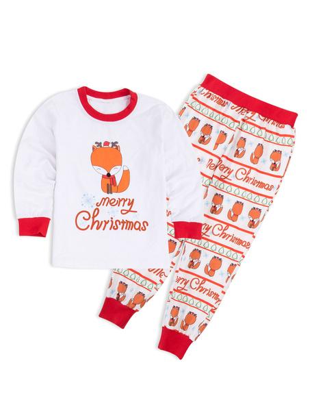 Milanoo Matching Family Pajamas Christmas Father White Fox Print Top And Pants 2 Piece Set For Men